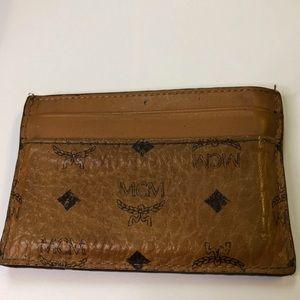 MCM Brown Leather Men's Card Holder Wallet